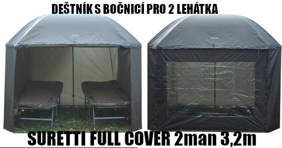 Deštník s bočnicí pro dvě lehátka - SURETTI FULL COVER 2man 3,2m