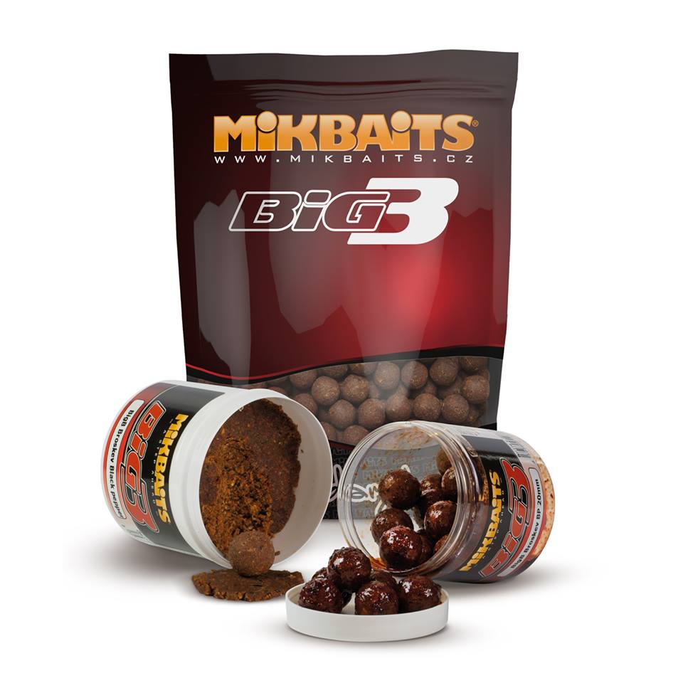 MIKBAITS - Hotové boilies Legends 1kg / 24mm / BigB Broskev&Black pepper