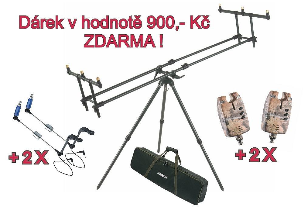 AKCE - stojan na pruty Mivardi Tripod Premium + 2xSounder Easy + 2xSWINGARM Easy