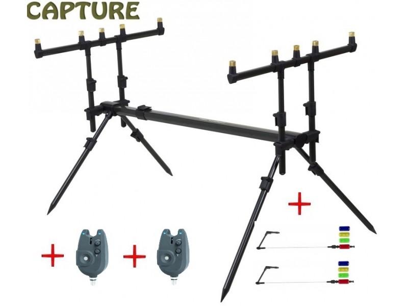 stojan na pruty JAF Capture Rodpod Legendary Pod + 2 Passion RZ + swinger