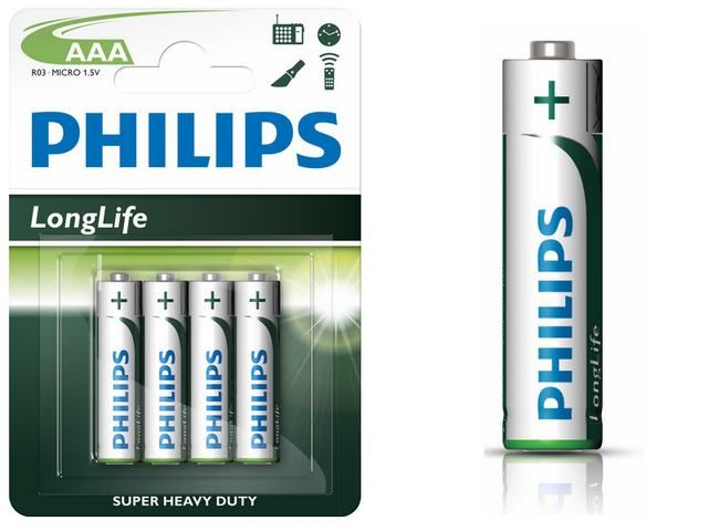 PHILIPS - Baterie AAA LR03 Longlife 4ks