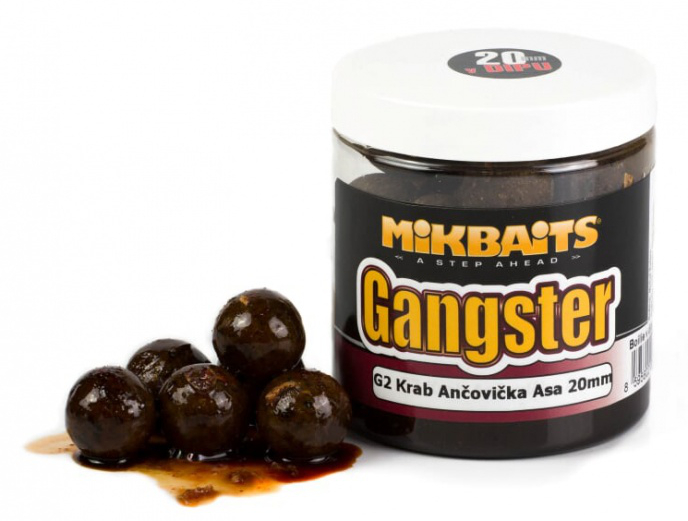 MIKBAITS - Boilie v dipu Gangster 250ml / 20mm / G2 Krab&Ančovička&Asa