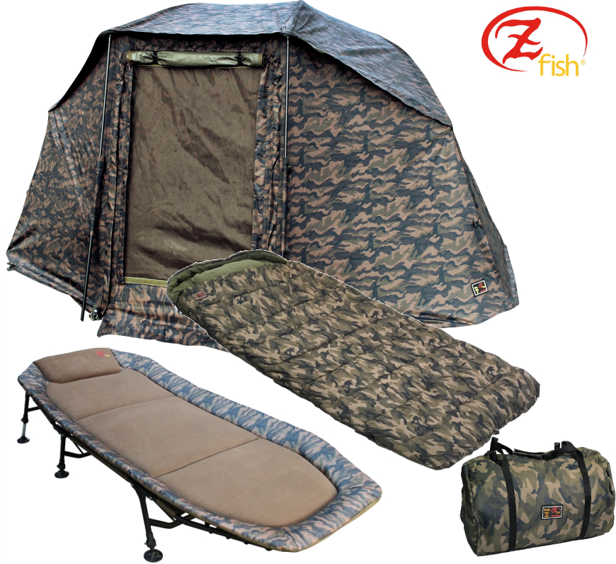 "brolly + lehátko + spací pytel Zfish Brolly Storm Camo 60"" Set"