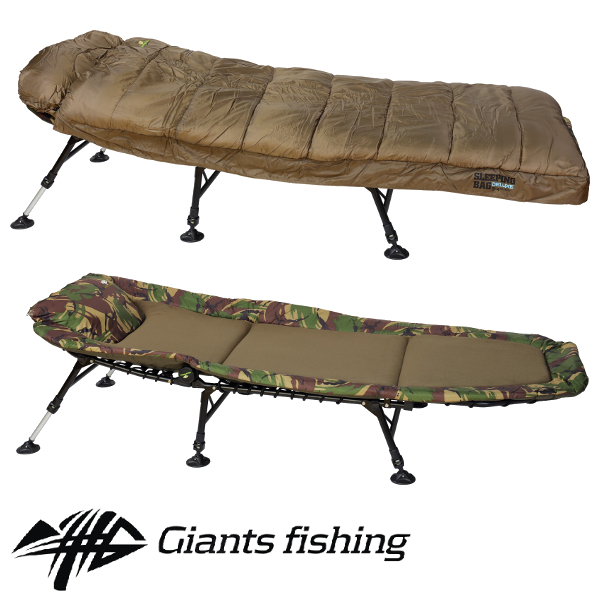 GIANTS FISHING - Lehátko Bedchair Fleece Camo 6leg + Spací pytel Deluxe Season 3-4