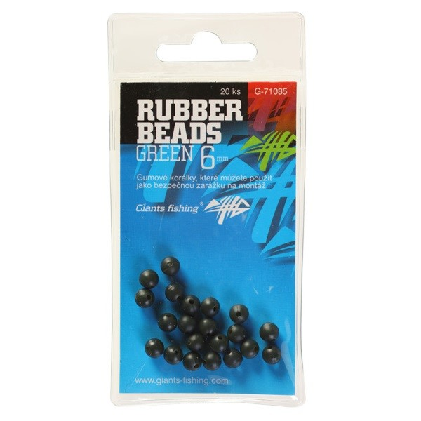 GIANTS FISHING Gumové kuličky Rubber Beads Green 6mm / 20ks
