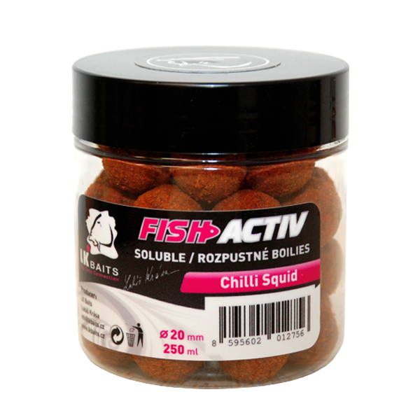 LK BAITS - Rozpustné boilies Fish Activ 250ml / 20mm / CHILLI SQUID