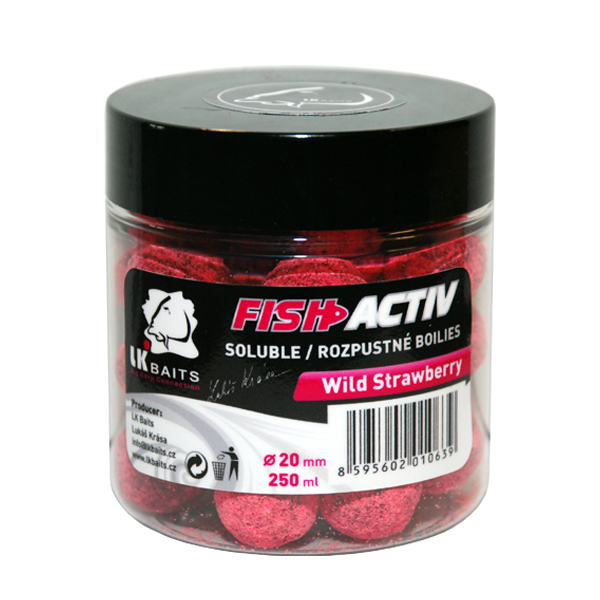 LK BAITS - Rozpustné boilies Fish Activ 250ml / 20mm / WILD STRAWBERRY