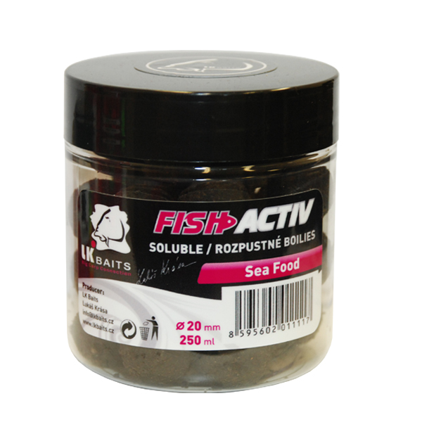 LK BAITS - Rozpustné boilies Fish Activ 250ml / 20mm / SEA FOOD