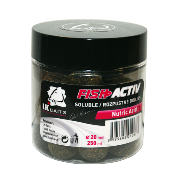 LK BAITS - Rozpustné boilies Fish Activ 250ml / 20mm / NUTRIC ACID