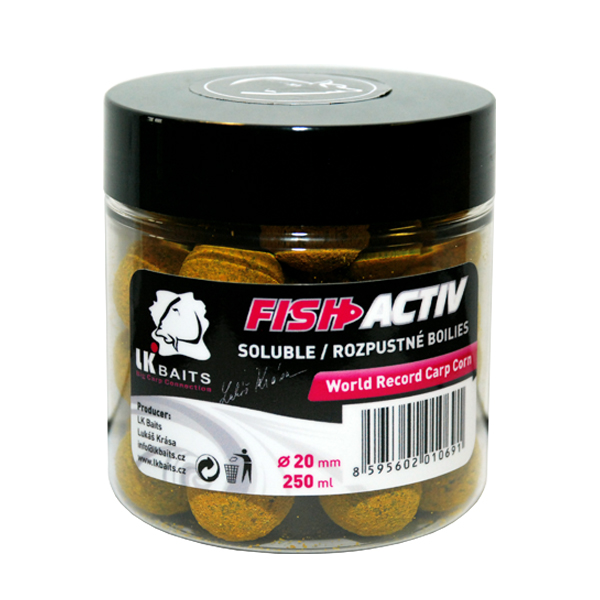 LK BAITS - Rozpustné boilies Fish Activ 250ml / 20mm / WORLD RECORD CARP CORN
