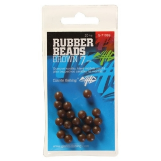 GIANTS FISHING Gumové kuličky Rubber Beads Brown 6mm / 20ks